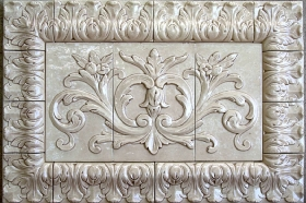 Acanthus Liners and Corners bordering Floral tile