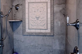 Lion Panel used as decorative mural in shower enclosure