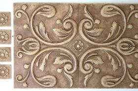 Bordeaux with Florets for Interior Design