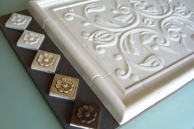 Bordeaux tile with several glaze colors