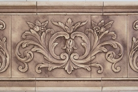 Floral tile with Single Scrolls for Interior Design