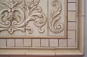 Floral tile with Single Scrolls for Wall tile
