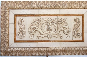Floral tile with Single Scrolls for Decoration