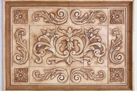 Floral tile with Single Scrolls for Mural