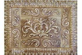Floral tile with Single Scrolls and Acanthus liners for Decorative Accent