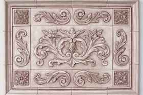 Floral tile with Single Scrolls for Decorative inserts