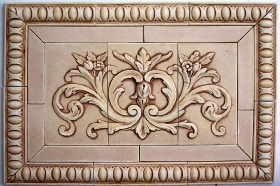 Floral tile with wide flat tiles, Egg, and Dart liners for Wall tile