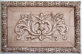 Floral tile with wide flat tiles and Henry\'s liners for Decorative Mural