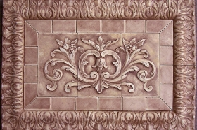 Floral tile with Acanthus liners for Interior Design