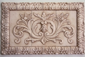 Floral tile with Small Acanthus liners for Ceramic Mural