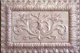 Floral tile with Acanthus liners great for Stone insert