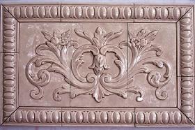 Floral tile with Egg and Dart Liners for Backsplash