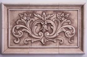 Floral tile with Plain Frame for Backsplash