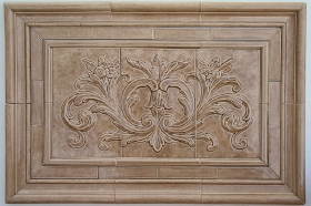 Floral tile with Thin liners for Kitchen Backsplash