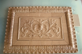 Floral tile with Think liners, wide flat tiles, and Acanthus Liners for Backsplash