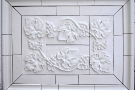 Grapes and Leaves tile set with Plain Frame liners
