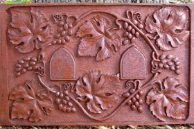 Original carved panel reproduced in order to make our Grapes and Leaves tile set