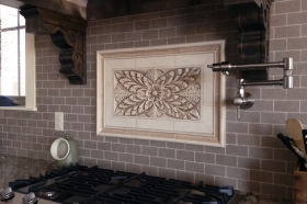 Colonial Flower, 2 inch flat tiles and Plain Frame liners