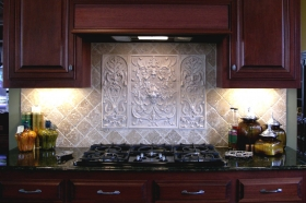 Lion Panel and two Bouquet tiles