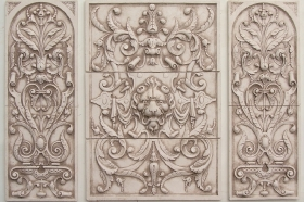 Lion Panel with 2 Bouquets for Wall Art