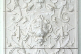 Lion Face tiles in Very White from Andersen Ceramics
