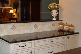 Medium Medallions installed in backsplash