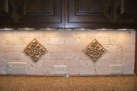 Symmetrical Scrolls installed in Kitchen Backsplash