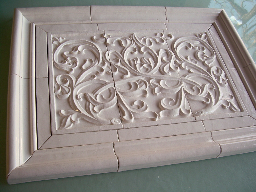 completed tile set with english panel in very white glaze shown here