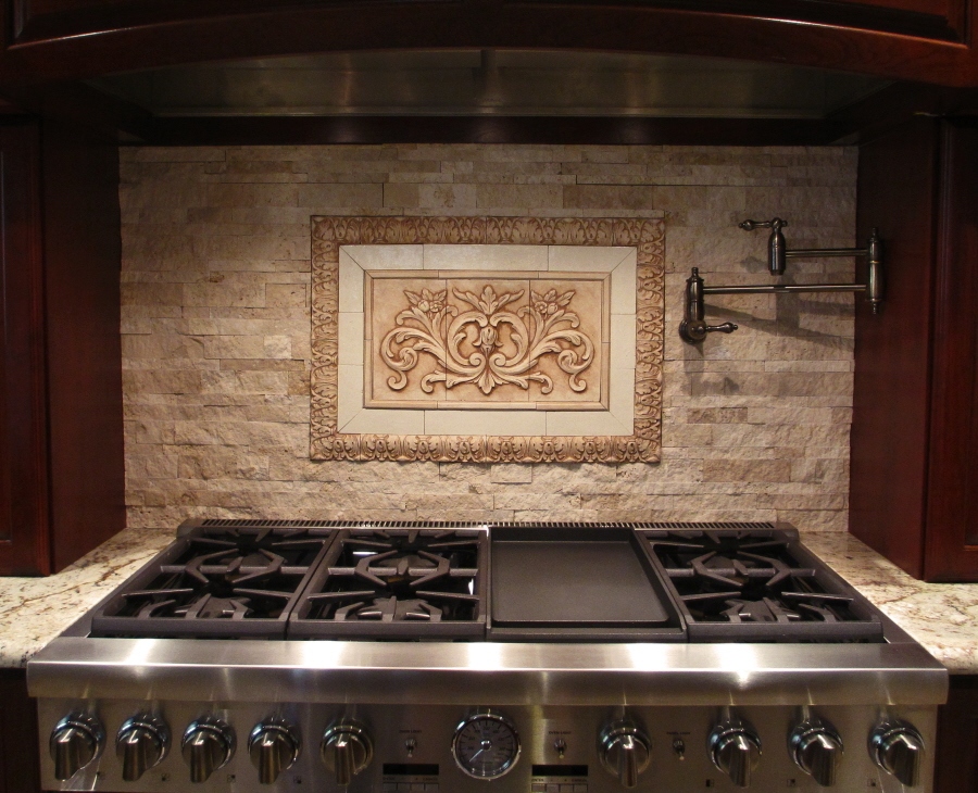 Kitchen backsplash mozaic insert tiles decorative medallion tiles stone deco insert andersen Stone backsplash tile
