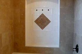 Decorative Tile Set Installed in Bathrooms by Andersen Ceramics, Austin TX