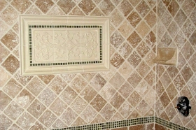 stone medallion tile installation