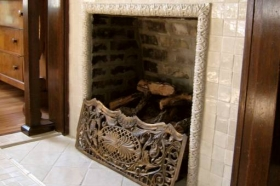 Field Tiles Installed around Fireplace
