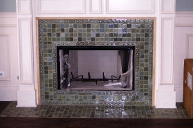 Filed Tiles Installed around Fireplace