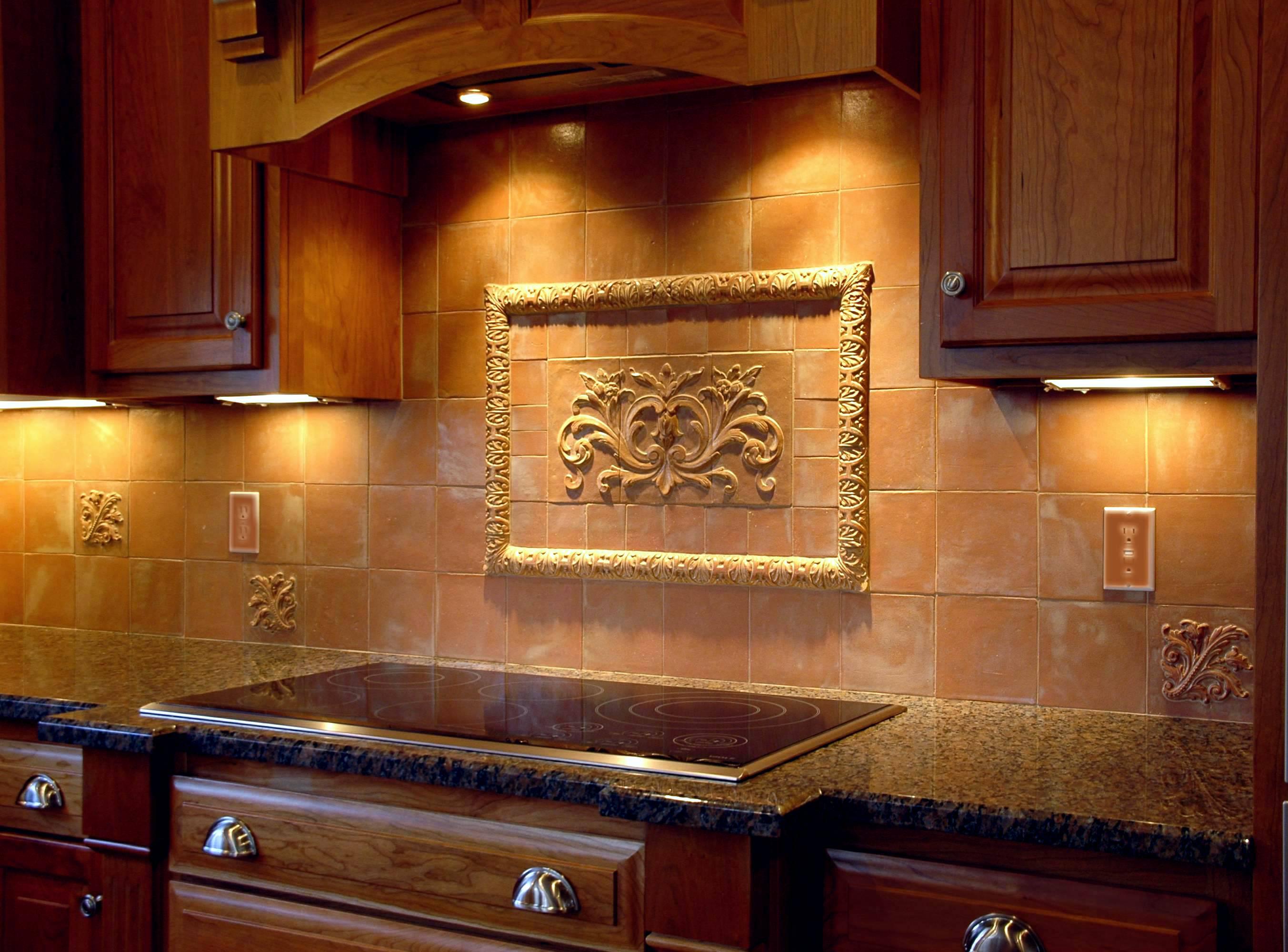 Hand pressed floral tiles installed in kitchen backsplash berg9 dailygadgetfo Images