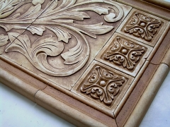 Small relief tiles, stone insert designs, kitchen backsplash insert