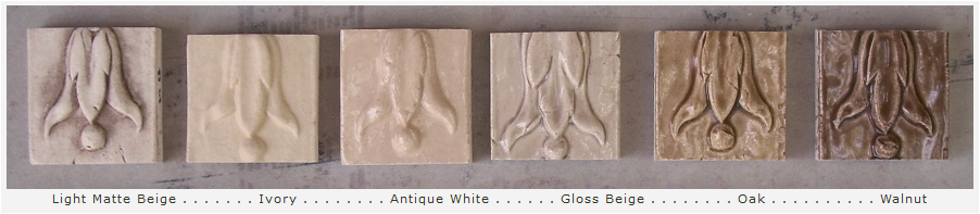 Color options for high relief decorative backsplash tiles