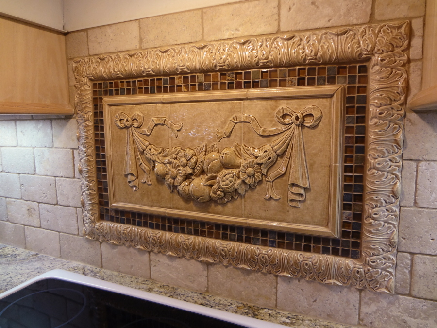 Kitchen Backsplash Mozaic Insert Tiles, Decorative Medallion Tiles, Stone  Deco Insert